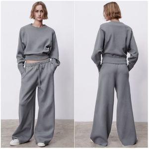 NWT ZARA | Set Knit Sweatshirt + Palazzo Pants